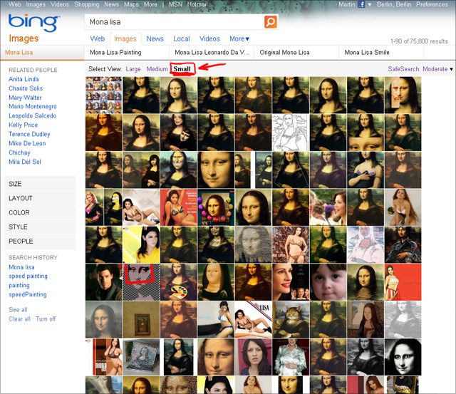 Bing imageSearch (Mona Lisa) - View Small