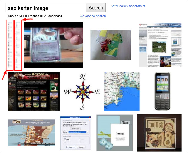 Extreme high-formats in Google image-search