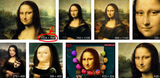 Google images shows Size of Mona Lisa