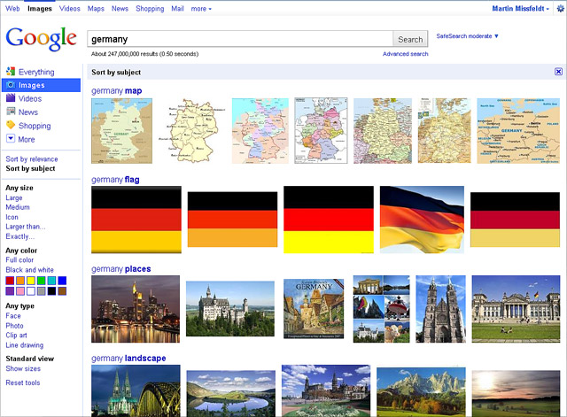 Google imagesearch Germany - sort by subject
