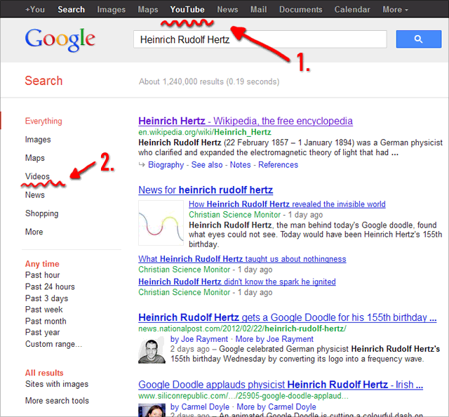 Google Search for Videos: New! YouTube in the header