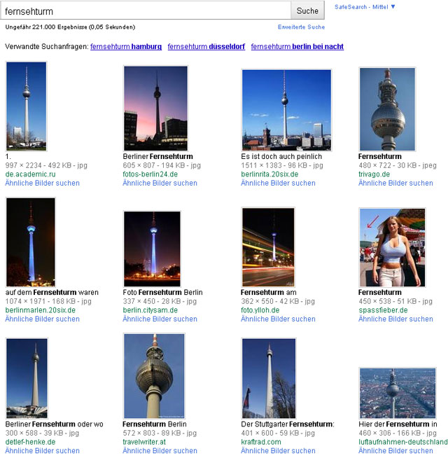 "Screen ""fernsehturm"" in german image-search"