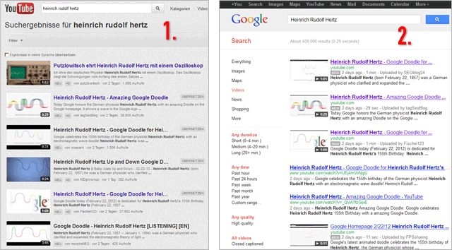 Two Google video-search results: youTube (left) and video-search (right)