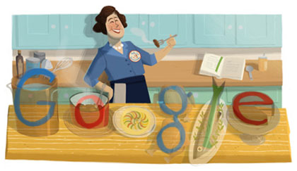 Julia Child cooks the Google logo