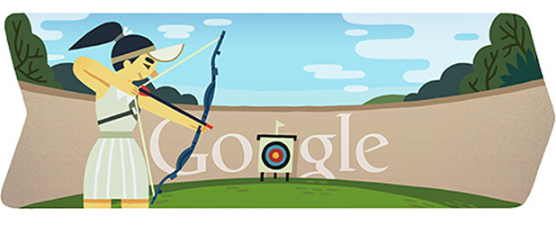 London 2012 Archery Google Doodle (July 28th, 2012)