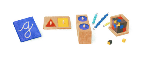 Maria Montessori Google Doodle (142nd birthday)