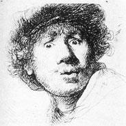 Rembrandt Etching (self-portrait, 1630)