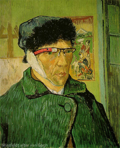 Vincent van Gogh without ear but with Google Glass