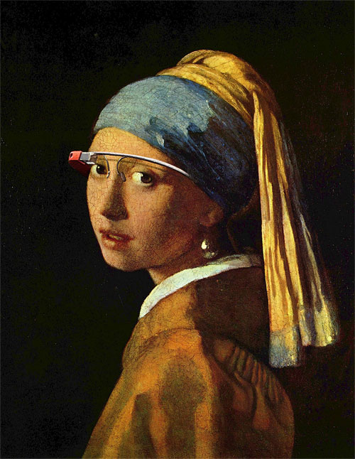 Young woman with Google Glass (after Vermeer)