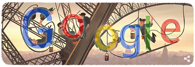 Eiffel tower doodle with Google chars